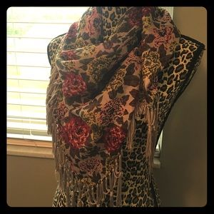 Accessories - Target floral square scarf wrap tassel rose merona